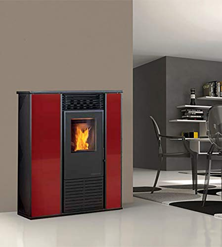 Karmek One Alice Pelletkachel 14,3 kW met ventilator van staal, rood