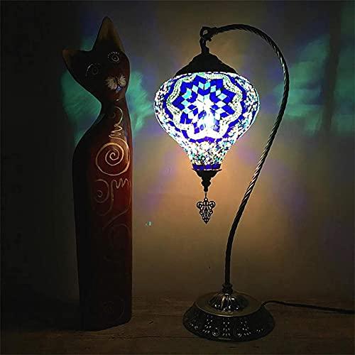 GDEVNSL Lámparas de Mesa de Cuello de Cisne Turco de 7'Lámpara de Noche de Mosaico marroquí Luz de Noche romántica Vintage Sala de Estar Dormitorio Café Bar, F