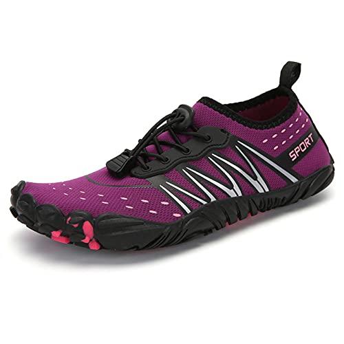Qier Zapatos De Agua Hombres Mujeres Playa Camping Natación Zapatos Acuáticos, Adultos Unisex Planas Suaves para Caminar Yoga Zapatillas Antideslizantes, Camel, 43
