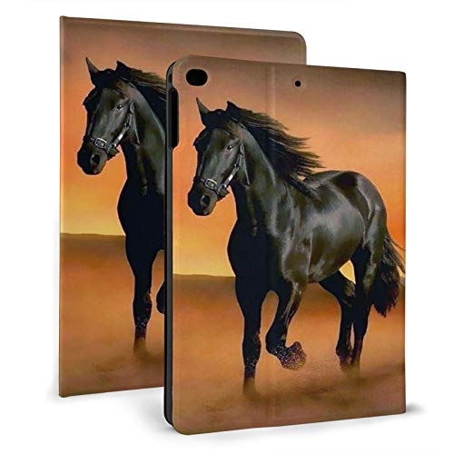 Southwest Native American Indian Tribal Black Horse Ipad Case mini4/5 & ipad air1/2 TPU Protective Stand Cover with Auto Sleep Wake Up Ipad for IPad 7.9'&9.7' Tablet