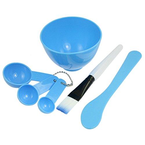 sourcing map Plastique Maquillage Soins Visage masque mélange bricolage brosse Bol Bleu 4 cuillère dans 1 Jeu