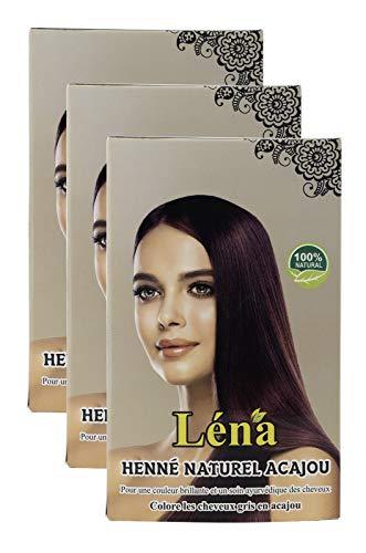 Mahagoni henna, haarfarbe, haarpflege, pflanzenhaarfarbe, weiße haare bedecken und 100% natürlich - Pack 3 X 100 g
