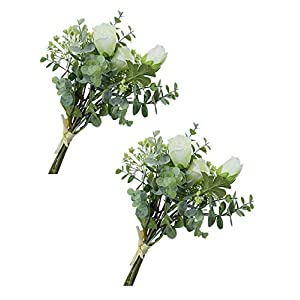 Artificial Silk Rose Bouquets with Baby Beath Gypsophila and Eucalyptus Leave Stems Mixed Fake Flowers Bunch for Wedding Home Decor Gift