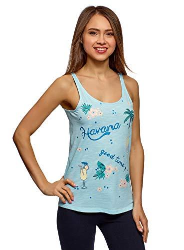 oodji Ultra Mujer Camiseta de Tirantes de Algodón con Bordado