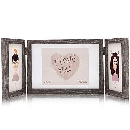 Afuly Holz Bilderrahmen 3 Bilder Mehrfach Collage Braun für 10x15 und 13x18 cm Fotos
