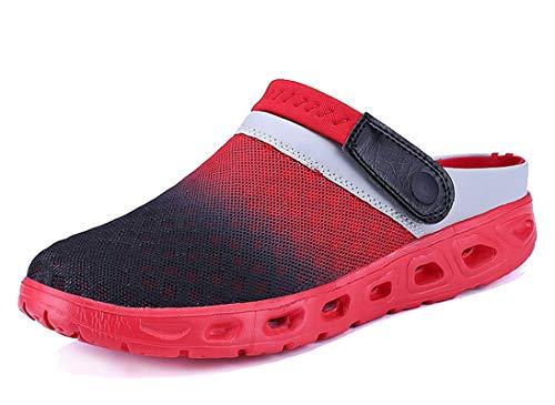 CCZZ Herren Damen Atmungsaktiv Mesh Sandalen Sommer Hausschuhe Rutschfest Outdoor Sport Pantoletten Sandalen Slip-On Garden Clogs (EU 40, Rot)