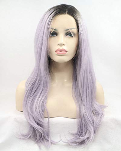 """Dark Roots To Pastel Purple Lavender Drag Queen Synthetic Lace Front Wigs For Women Cosplay Party Holidays Wig 24"""""""