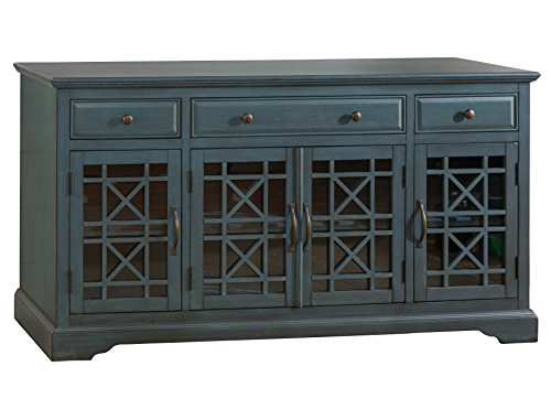 "Jofran: , Craftsman, 60"" Media Unit, 60""W X 19""D X 32""H, Antique Blue Finish, (Set of 1)"