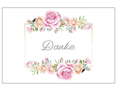 6 Premium Dankeskarten (Klappkarten) mit 6 weißen Umschlägen, Danke, Dankeschön, Karten, Dankekarten, Hochzeit, Geburt, Baby, Taufe, Abschied, Geburtstag, Jubiläum Blumen Blumenmotiv