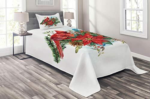 Lunarable Cardinal Deckenset für Doppelbett, Weihnachtsmotiv Vogel auf floralem Blumenstrauß, Tannenzapfen & Beeren, 2-teiliges dekoratives gestepptes Tagesdecken-Set mit 1 Kissenbezug, Rubinrot