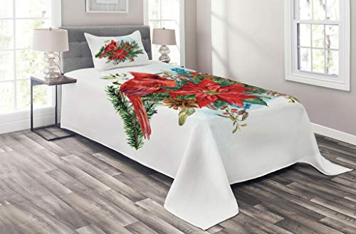 Lunarable Cardinal Coverlet Set Twin Size, Christmas Themed Bird on Floral Bouquet Poinsettia Pinecones and Berries, 2 Piece Decorative Quilted Bedspread Set with 1 Pillow Sham, Ruby