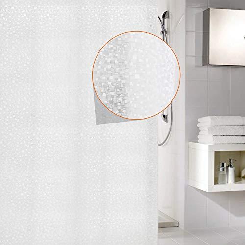 Mosaik Duschvorhang 180x200 cm, Anti-Schimmel, Wasserdicht Vorhang an Badewanne Antibakteriell, 0.2mm weiß Vorhang für Dusche 3D Mosaik, 100% Eva, inkl. 12 Duschvorhangringen kinderfreundlich