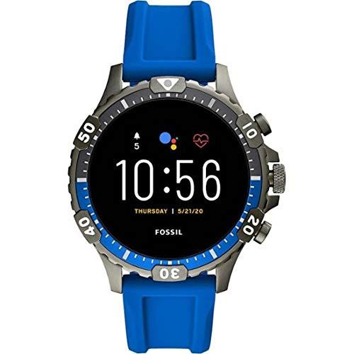 Fossile Garrett HR-Gen 5 Smartwatch mit blauem Silikonarmband für Herren FTW4042