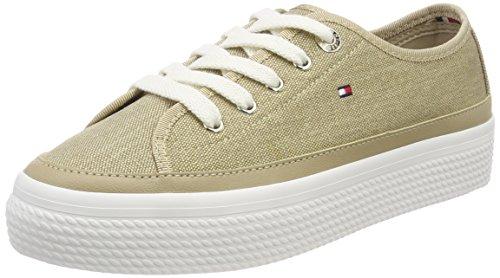 Tommy Hilfiger Damen Glitter Textile Flatform Sneaker, Beige (Sand 102), 40 EU