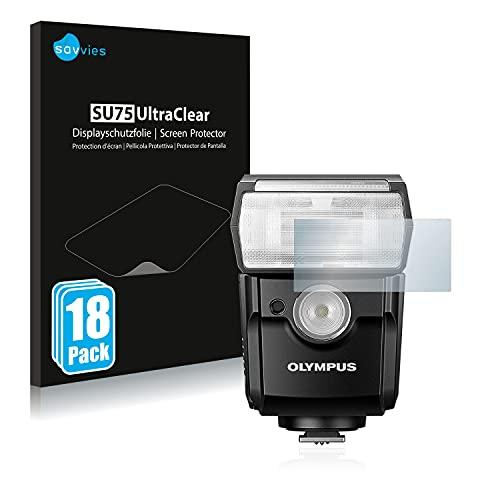 savvies Protector Pantalla Compatible con Olympus FL-700WR (18 Unidades) Película Ultra Transparente