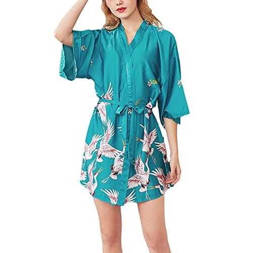 INSTO Vestidos para Mujer Blanco Grúa Impresa Pijamas Pajamas Ropa de Dormir Satén Kimono Robe Nightwear Adulto Albornoz Homewear Pijamas,Verde,L