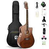 Vangoa 12 String Guitar, Acoustic-electric Dreadnought Cutaway Guitar Bundle, Sapele Body, Natural, Gloss(VA21CE NT12)