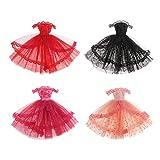 SM SunniMix 4Pcs 1/6 Vestido sin Tirantes BJD Dolls para Blythe Doll Dress Up Outfits Accs