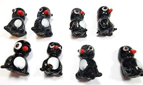 Perlin – 16 perle per bambini in porcellana, perle di ceramica, perle di animali, pinguino in ceramica, perle in ceramica di colore nero/bianco, perle intermedie da infilare D207A x2