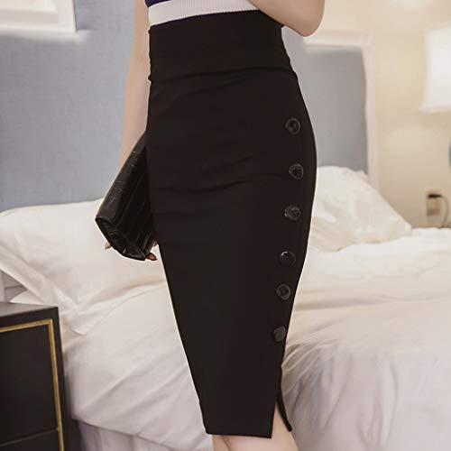 NP Falda lápiz para mujer, color negro, rojo, falda de botón de algodón dividida para oficina