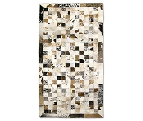 Zerimar Tapis Patchwork en Peau de Vache | Dimensions : 140x70 cm | Tapis de Salon en Cuir | Tapis de Décoration | Tapis de Chambre à Coucher | Tapis Naturel | Tapis de Vache
