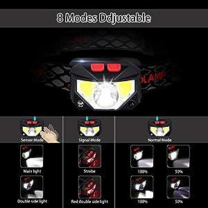 EJNOY Linterna Frontal LED USB Recargable, Linterna de Cabeza led Recargable, 8 Modos de Uso (Luz Blanca/Luz Roja/Sensor). Linterna Frontal Led para Correr, Acampar, Pescar, Ciclismo