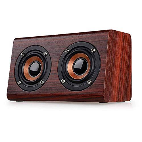 ZWFS Bluetooth-luidspreker, 10 W, dual luidspreker, demping, bas, hifi-stereo-muziekspeler 4.0 draadloze Bluetooth subwoofer van hout - handsfree - ondersteuning van de TF-kaart