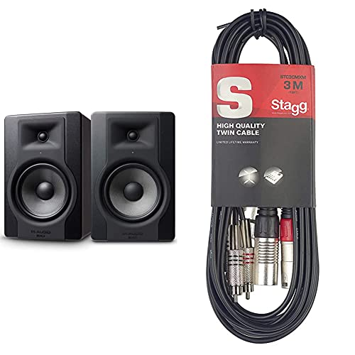 """M-Audio Bx8 D3 Pair – Par De Monitores/Altavoces Activos De Estudio Bidireccionales, 150 W con Woofer De 8"""" para Producción Musical Y Mezcla De Música + Stagg Stc3Cmxm Cable RCA A XLR"""