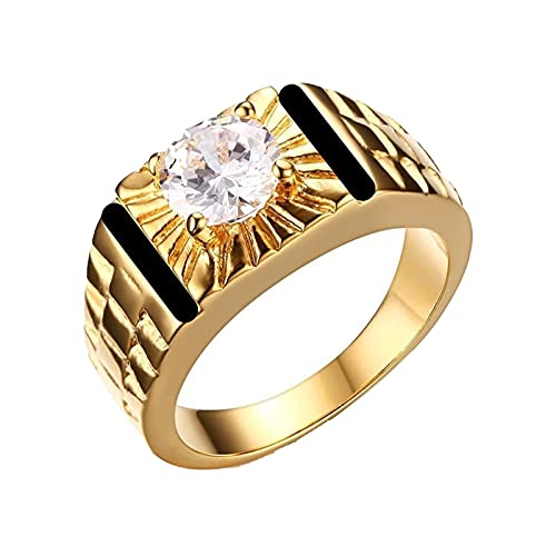 Anillo de circón blanco redondo de esmalte negro de Color dorado vintage para hombres, anillos de compromiso para bodas y fiestas para hombres11white