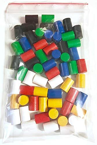 Spielsteine aus Holz für Brettspiele, Zylinder 10x15 mm, 6 Farben, 60 Stück (Basismischung)