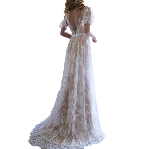 Aoturui Boho Hochzeitskleider Rückenfrei Kurze Ärmel Eine Linie Spitze Brautkleider romantischen Boho Schlüsselloch zurück Brautkleid mit Cap Sleeves Kleider Style2 44