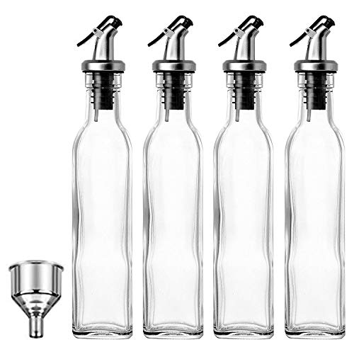 JY Collection Set of 4 Glass Oil and Vinegar Dispenser, 17 OZ, BPA Free, Salad Dressing Cruet Glass Bottle Olive Oil Bottles Dispenser Glass Oil Bottle Coconut Oil bottle with Stainless Steel Funnel