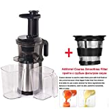 200W 40RPM Stainless Steel Masticating Slow Auger Juicer Fruit and Vegetable Juice Extractor Compact Cold Press Juicer Machine,With Coarse Strainer,UK,220-240V 50 60Hz