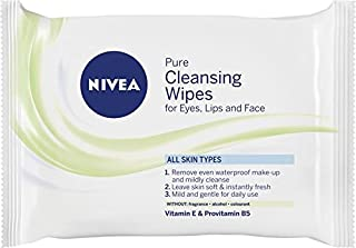 NIVEA Pure Cleansing Wipes for Eyes, Lips & Face. Enriched with Vitamin E & Provitamin B5 for All Skin Types 25 Wipes