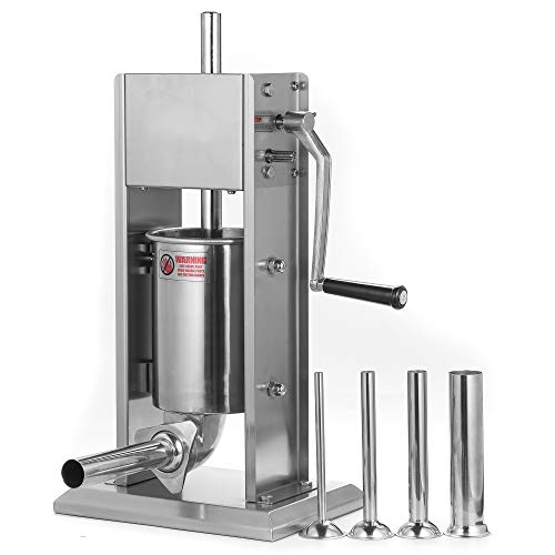 Stainless Steel Vertical Sausage Stuffer,Sliver,Dual Speed, Easy Clean Up Sausage Maker (7Lb/3L)
