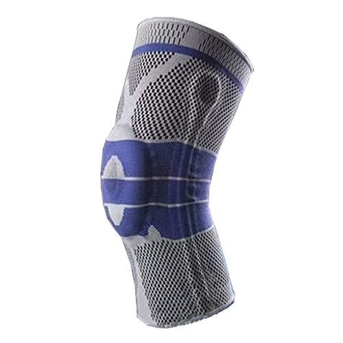 Rodillera con almohadilla de silicona y barras laterales de metal elástico - Manga de compresión para correr, artritis, alivio del dolor en las articulaciones. (1 PCS)-XL-Gris