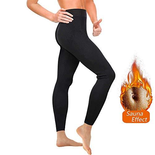 Leggins de Sudoracion Reductores Adelgazantes Mujer Fitness Push Up de Cintura Alta, Leggins Anticeluliticos, Mallas Reductoras, Pantalones Compresion Termicos Sauna, Deporte Yoga Running (L, Black04)