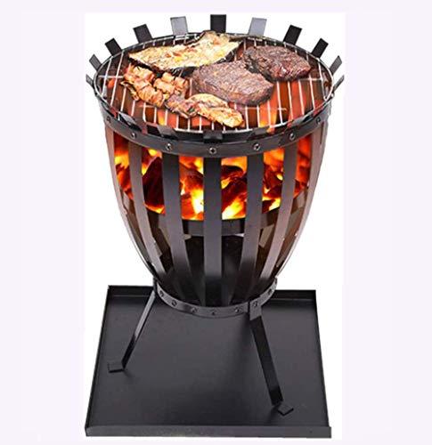 XiYou Fire Pit Bowl BBQ Garden Exterior Portátil de Acero Inoxidable Parrilla de Barbacoa Carbón de leña Patio Trasero Brazie Plate Net Hogar Olla Calefacción Redonda Invierno