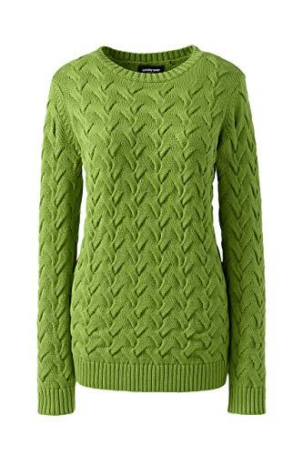 Lands' End Womens Drifter Cotton Crew Neck Sweater Soft Fern Regular Large