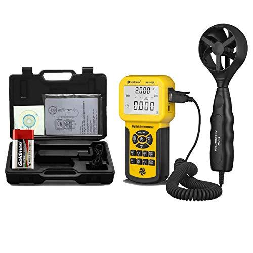 HoldPeak Digital Anemometer HP-846A Windgeschwindigkeitsmessung für Drachen, Segel, Surf, Angeln – misst Windgeschwindigkeit + Temperatur + Windfluss mit Hintergrundbeleuchtung und USB-Anschluss