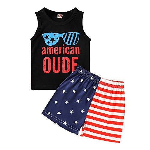Baby Boy Girl 4 luglio Shorts Set Independence Day Letters Stampa T-Shirt Senza Maniche e Pantaloni Corti Abiti Estivi (B-Black, 9-12 Months)
