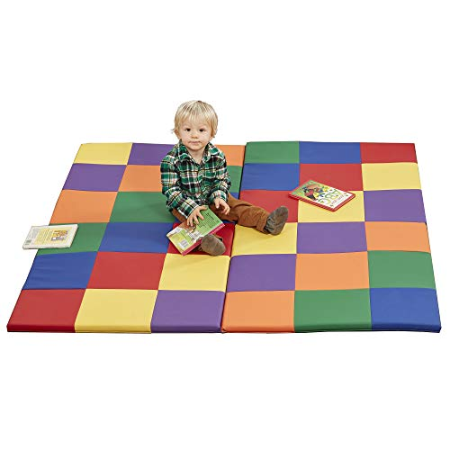 ECR4Kids SoftZone Patchwork Toddler Foam Activity Mat, 58in Square Colorful Toddler Crawling and Tummy Time Mat, Padded Infant Floor Mat, Safe Active Play for Babies, Foldable Design - Assorted