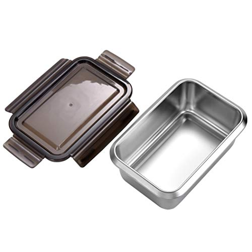 Stainless Steel Sandwich Container - Fresh box - Salad or Food, Rectangular lunch box, 1 portion, light Grey