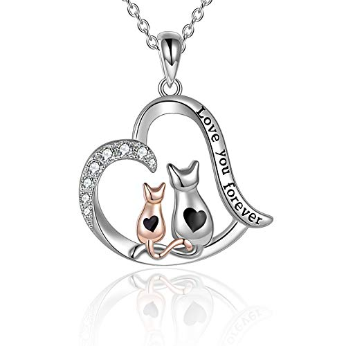 YFN Collar de gato Joyería para Mujer Plata Esterlina Madre Hija Gato Collar de Corazón Infinito Regalos para Mamá Hija Esposa Niñas