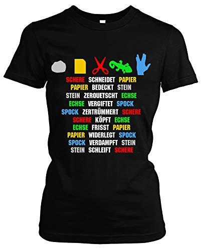 Steen, papier, schaar, echse, Spock Dames Girlie T-shirt | spel Sheldon Fun | M1