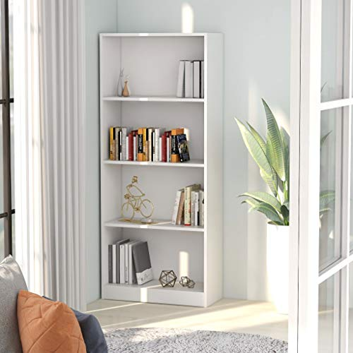 Benkeg Estantería 4 Niveles Aglomerado Color Blanco 60x24x142 cm, Estantería Madera Estantería de Libros Estantería Versátil Estanterias Librerias, Estanterias de Diseño