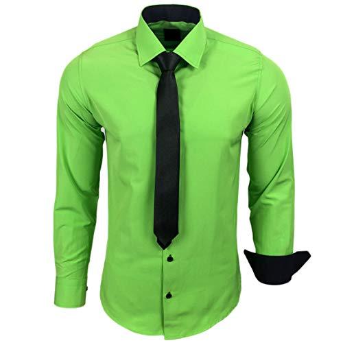 Baxboy 444-BK Herren Kontrast Hemd Business Hemden mit Krawatte Hochzeit Freizeit Fit, Farbe:Grün, Größe:L
