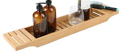 Mind Reader Bathroom Shower Organizer for Shampoo, Soap, Razors, and Much More Bamboo Bathtub Tray, Brown Bath Caddy