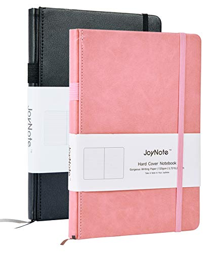 JoyNote 2 Pack Hardcover Notebook, A5 College Ruled Writing Journal with Pen Loop, 96 Sheets/192 Pages, 2 Plan Stickers Gifts, 5.75 x 8.25 inches, Black Pink