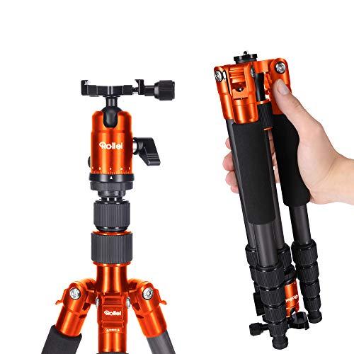 Rollei Compact Traveler No. 1 Carbon - sehr leichtes Reisestativ aus Carbon mit einem Packmaß von nur 33 cm, Arca Swiss kompatibel, Orange